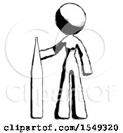 Ink Design Mascot Woman Standing With Large Thermometer