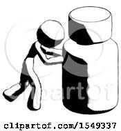 Ink Design Mascot Woman Pushing Large Medicine Bottle