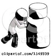 Ink Doctor Scientist Man Pushing Large Medicine Bottle