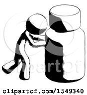 Ink Design Mascot Man Pushing Large Medicine Bottle
