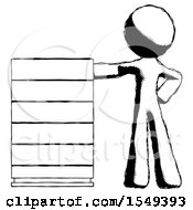 Ink Design Mascot Man With Server Rack Leaning Confidently Against It