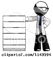 Ink Doctor Scientist Man With Server Rack Leaning Confidently Against It