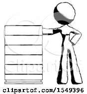 Ink Design Mascot Woman With Server Rack Leaning Confidently Against It