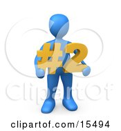 Blue Person Holding A Number Two Sign by 3poD