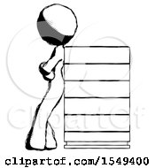 Ink Design Mascot Woman Resting Against Server Rack