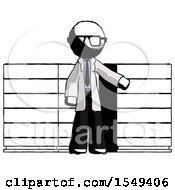 Ink Doctor Scientist Man With Server Racks In Front Of Two Networked Systems