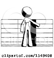Ink Design Mascot Woman With Server Racks In Front Of Two Networked Systems