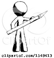 Ink Design Mascot Man Holding Large Scalpel
