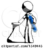 Ink Design Mascot Woman Holding Test Tube Beside Beaker Or Flask by Leo Blanchette