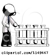 Ink Doctor Scientist Man Using Test Tubes Or Vials On Rack by Leo Blanchette