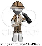 Gray Explorer Ranger Man Holding Hammer Ready To Work