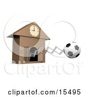 Black And White Soccerball Popping Out Of A Cuckoo Clock As A Reminder For A Soccer Game Or Practice Meet
