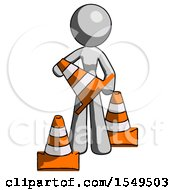 Gray Design Mascot Woman Holding A Traffic Cone