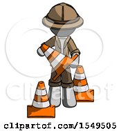 Gray Explorer Ranger Man Holding A Traffic Cone
