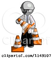 Gray Doctor Scientist Man Holding A Traffic Cone