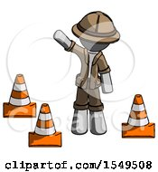 Gray Explorer Ranger Man Standing By Traffic Cones Waving