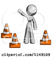 Gray Design Mascot Woman Standing By Traffic Cones Waving