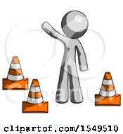 Gray Design Mascot Man Standing By Traffic Cones Waving