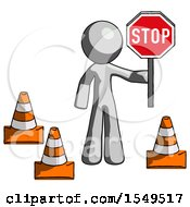 Gray Design Mascot Man Holding Stop Sign By Traffic Cones Under Construction Concept