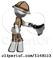 Gray Explorer Ranger Man Dusting With Feather Duster Downwards