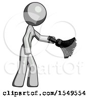 Gray Design Mascot Woman Dusting With Feather Duster Downwards