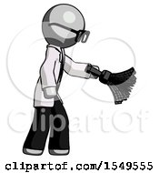 Gray Doctor Scientist Man Dusting With Feather Duster Downwards