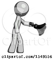 Gray Design Mascot Man Dusting With Feather Duster Downwards