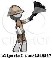 Gray Explorer Ranger Man Dusting With Feather Duster Upwards