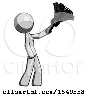 Gray Design Mascot Woman Dusting With Feather Duster Upwards