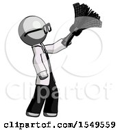 Gray Doctor Scientist Man Dusting With Feather Duster Upwards