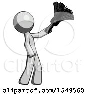 Gray Design Mascot Man Dusting With Feather Duster Upwards
