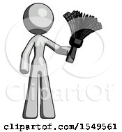 Gray Design Mascot Woman Holding Feather Duster Facing Forward