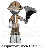 Gray Explorer Ranger Man Holding Feather Duster Facing Forward