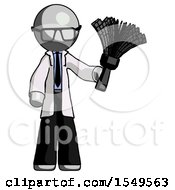 Gray Doctor Scientist Man Holding Feather Duster Facing Forward