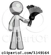 Gray Design Mascot Man Holding Feather Duster Facing Forward