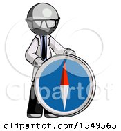 Gray Doctor Scientist Man Standing Beside Large Compass