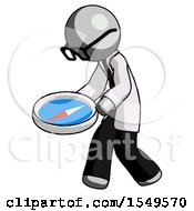 Gray Doctor Scientist Man Walking With Large Compass