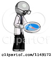 Gray Doctor Scientist Man Looking At Large Compass Facing Right