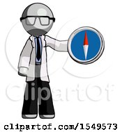 Gray Doctor Scientist Man Holding A Large Compass