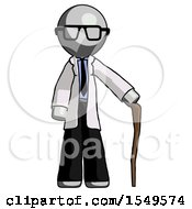 Gray Doctor Scientist Man Standing With Hiking Stick