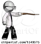 Gray Doctor Scientist Man Pointing With Hiking Stick