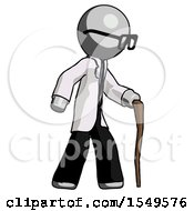 Gray Doctor Scientist Man Walking With Hiking Stick