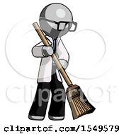 Gray Doctor Scientist Man Sweeping Area With Broom