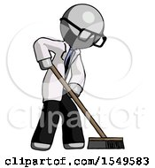 Gray Doctor Scientist Man Cleaning Services Janitor Sweeping Side View