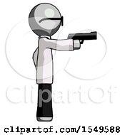 Gray Doctor Scientist Man Firing A Handgun