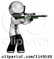 Gray Doctor Scientist Man Shooting Sniper Rifle