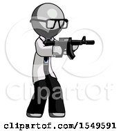 Gray Doctor Scientist Man Shooting Automatic Assault Weapon