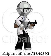 Poster, Art Print Of Gray Doctor Scientist Man Tommy Gun Gangster Shooting Pose