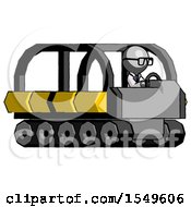 Gray Doctor Scientist Man Driving Amphibious Tracked Vehicle Side Angle View