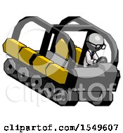Gray Doctor Scientist Man Driving Amphibious Tracked Vehicle Top Angle View